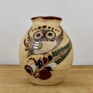 Vintage Mexican Pottery Pitcher Owl